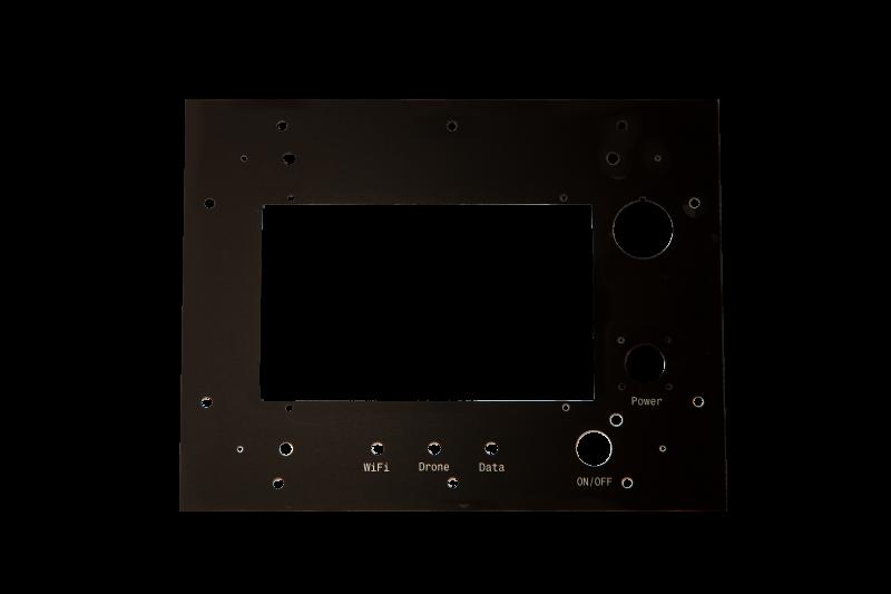 Anodised aluminium drone control front panel